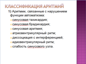 Аритмия, классификация